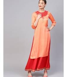 Women Orange Ethnic Motifs Straight Sateen Silk Kurta