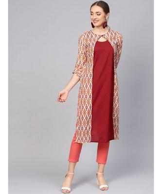 Women Maroon Geometric Straight Chanderi Cotton Kurta