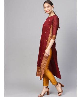 Women Maroon Straight Handloom Jacquard Kurta With Trouser Dupatta