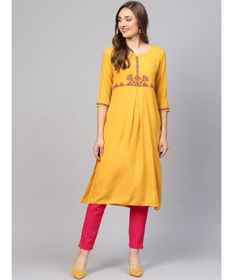 Women Mustard Solid A_Line Rayon Kurta With Trouser