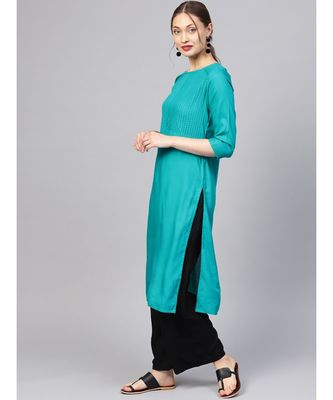 Women Teal Solid Straight Rayon Kurta With Palazzo