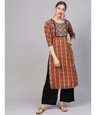 Women Maroon Straight Cotton Kurta With Palazzo