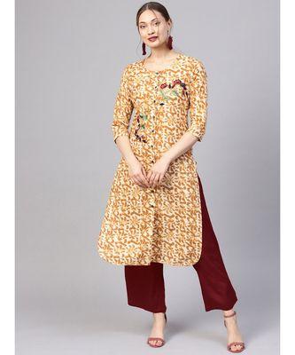 Women Brown Abstract Straight Cotton Kurta With Palazzo