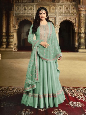 SKY Green Silk with Embroidery Work With  HANDMADE WORKBUTTON Salwar Suit