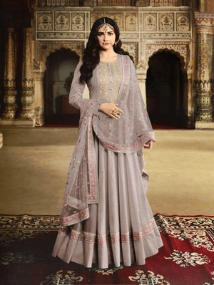 Grey Silk with Embroidery Work With  HANDMADE WORKBUTTON Salwar Suit