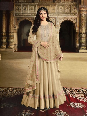 Cream Silk with Embroidery Work With  HANDMADE WORKBUTTON Salwar Suit