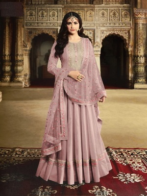 Purple Silk with Embroidery Work With  HANDMADE WORKBUTTON Salwar Suit