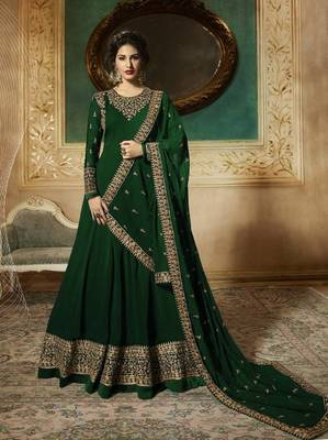 Green EMBROIDERED FAUX GEORGETTE SALWAR SEMI STITCHED