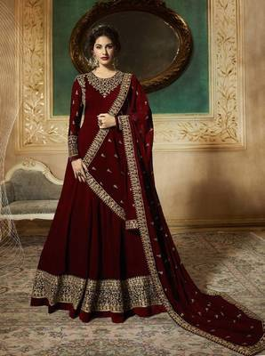 MAROON EMBROIDERED FAUX GEORGETTE SALWAR SEMI STITCHED