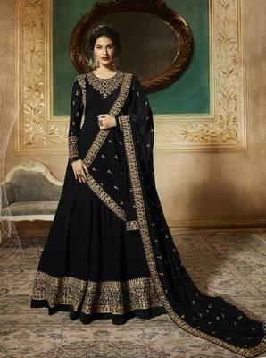 BLACK EMBROIDERED FAUX GEORGETTE SALWAR SEMI STITCHED