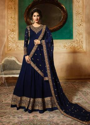 BLUE EMBROIDERED FAUX GEORGETTE SALWAR SEMI STITCHED