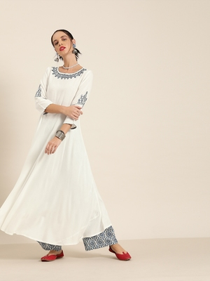 Women's White embroidered anarkali with printed palazzo and ombre dupatta