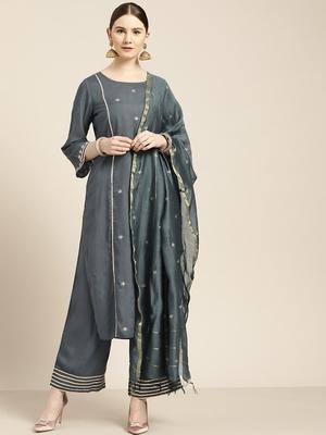 Women's Grey rayon slub embroidered kurta with palazzo & dupatta