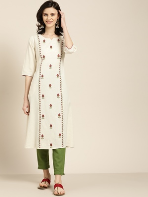 Women's Off white Embroidered cotton flex A line kurta with solid pant