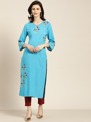Women's Blue Placement Embroidered straight kurta with solid pant