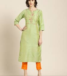 Women's Green handloom embroidered straight kurta with solid orange pant
