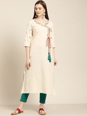 Women's Off white embroidered a line kurta With Solid Pant