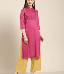 Women's Magenta embroidered rayon dobby straight kurta With Solid Palazzo