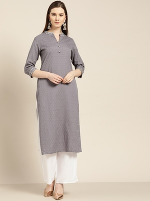 Women's Grey cotton dobby straight embroidered kurta With Solid White Palazzo
