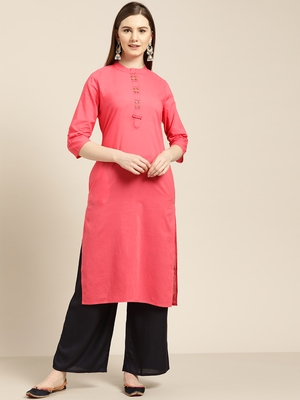 Women's Peach embroidered straight kurta With Solid Palazzo