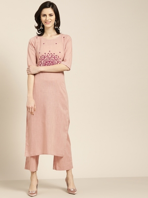 Women's pink embroidered straight kurta with palazzo