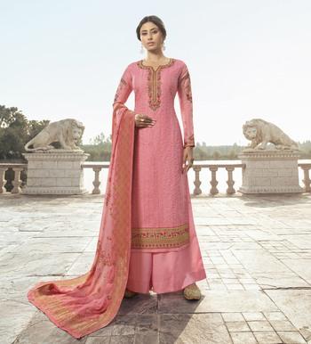 Baby-pink embroidered tussar silk salwar