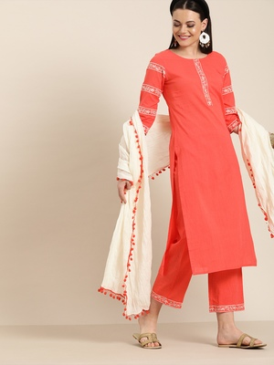 Peach embroidered straight kurta with palazzo & dupatta