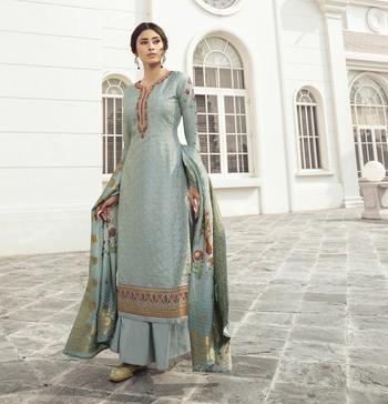 Sky-blue embroidered tussar silk salwar