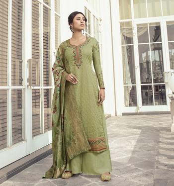 Light-green embroidered tussar silk salwar