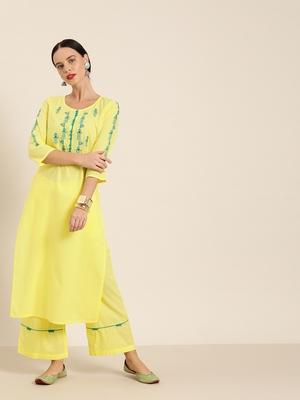 Yellow embroidered kurta & palazzo set