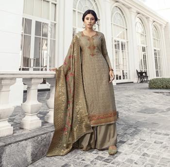 Dark-beige embroidered tussar silk salwar