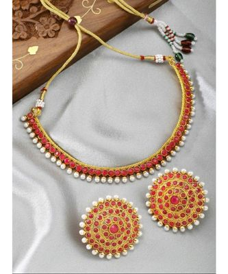 Gold Plated Stylish Red Stone Studded Choker Necklace Jewellery Set For Women
