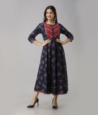 Women's  Blue Cotton Anarkali Floral Printed Kurta