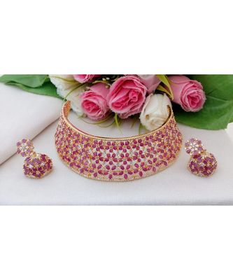 Gorgeous Choker Made out from Ruby & CZ Stones with a pair of Matching Jhumkas