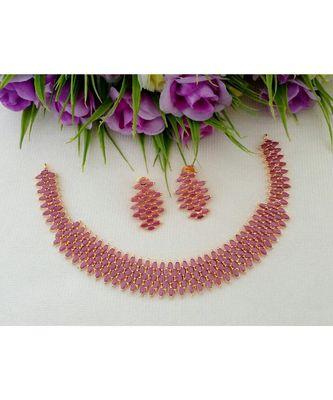 Elegant Designer Ruby Stone Necklace With A Pair Of Matching Ear Rings