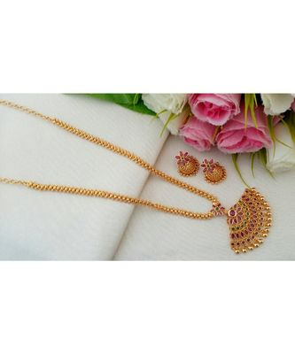Exquisite Gold Tone Desiner Chain with Ruby Emerald Pendant with a pair of Matching Jhumkas