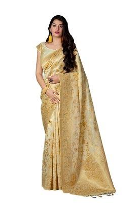 Gold printed banarasi silk saree with blouse