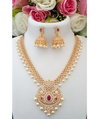 Royal Designer Cubic Zircon Stone Necklace with a pair of Matching Jhumkas