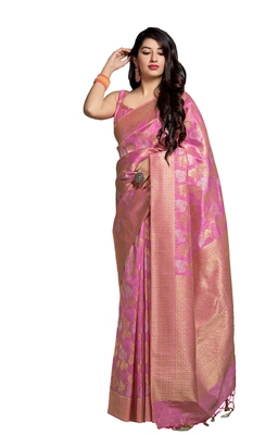 Pink printed banarasi silk saree with blouse
