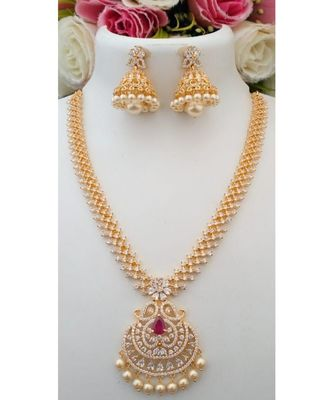 Stunning Desinger Cubic Zircon Stone Necklace with a pair of Matching Jhumkas
