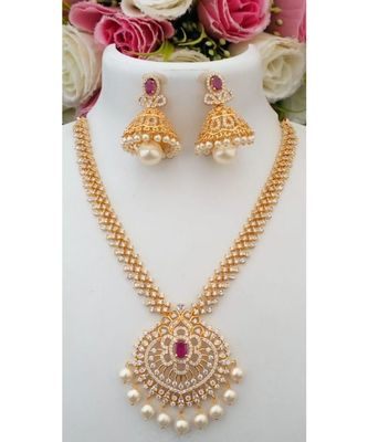 Awesome American Diamond Necklace with a pair of Beautiful Jhumkas