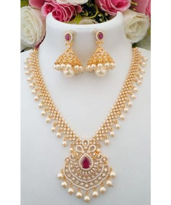 Beautiful Cubic Zircon Stone Necklace with a pair of Matching Jhumkas