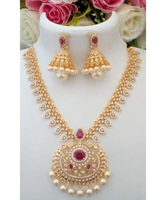 Elegant Designer American Diamond Stone Necklace with a pair of Matching Jhumkas