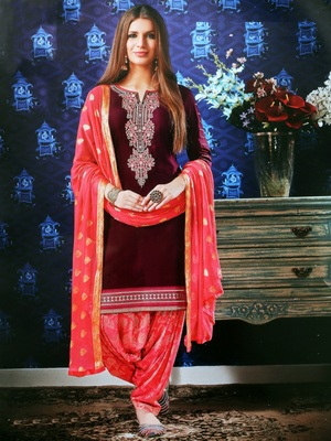 wine pink embroidered satin unstitched salwar with dupatta