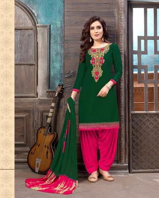 green pink embroidered satin cotton unstitched salwar with dupatta
