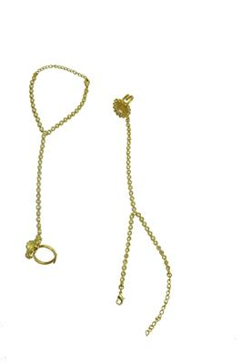 Gold cubic zirconia haath-phool-hath-panja