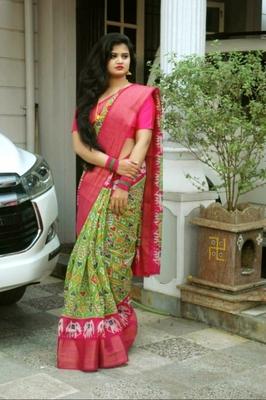 Dazzling Green Soft Linen Cotton Pochampally Saree With Blouse Piece