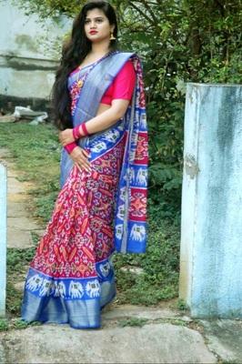 Gorgeous Pink Soft Linen Cotton Pochampally Saree With Blouse Piece