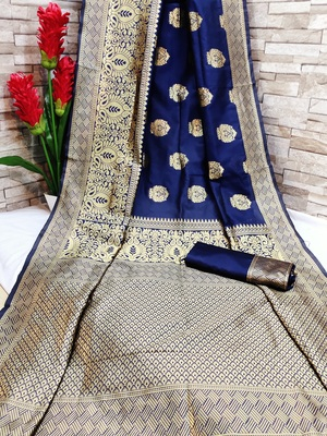 Dark blue woven banarasi saree with blouse