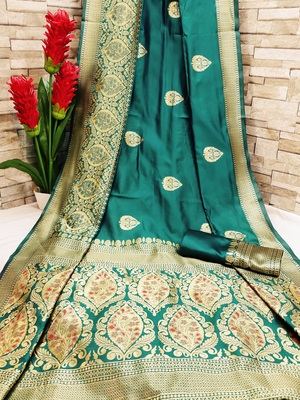 Turquoise woven banarasi saree with blouse